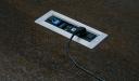 motorized wirebox on dark oak veneer table top