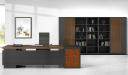 elegant office table with rear storage cabinet