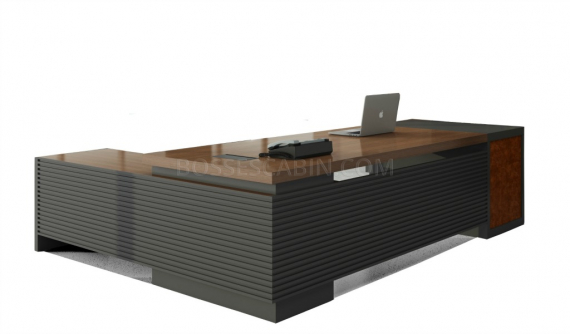 L shaped office desk with side cabinet