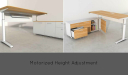 L shape executive desk with motorized height adjustment function