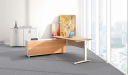 office with L shape office desk with motorized height adjustment