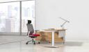 modern office cabin with sleek L shape office desk