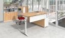 office cabin with L shape office desk in light wood