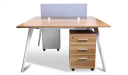 modular workstation in light walnut finish with tinted glass partition and mobile pedestal