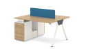 2 seater modular workstation in light wood with storage