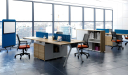 office with workstations chairs and cabinets