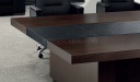dark oak and leather finish conference table top