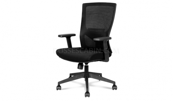 black office chair with mesh back