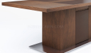 walnut finish meeting table with steel base