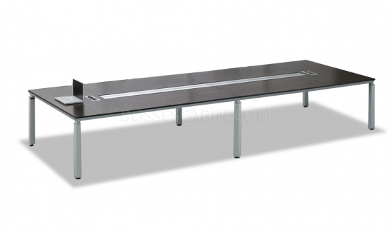 12 seat conference table with wire tray
