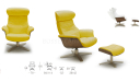 'Karma' Recliner Chair In Mustard Yellow Leather