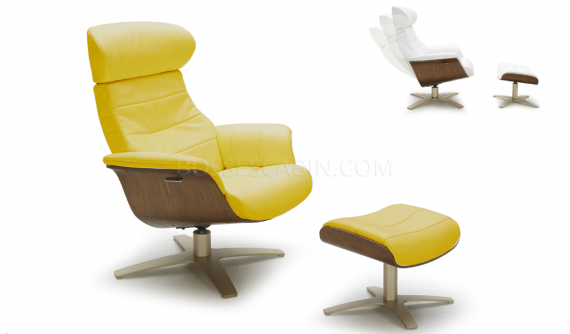 Recliner chair and ottoman in yellow leather