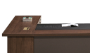 walnut finished office desk with wirebox