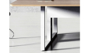 meeting table with walnut laminate top and white metal base