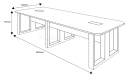 9 feet long conference table shop drawing with size