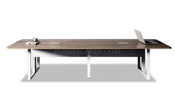 modern conference table with white metal legs