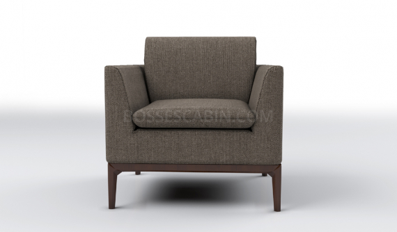 small single seater office sofa in brown fabric