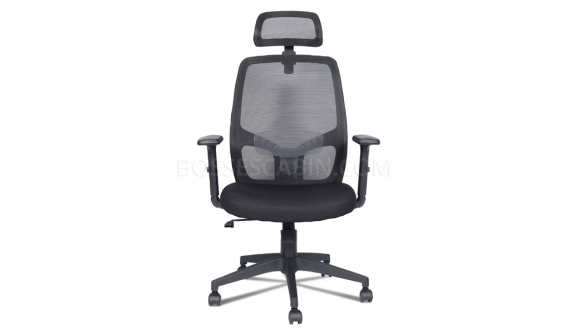black high back chair with headrest