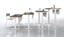 height adjustable desks set to diiferent heights