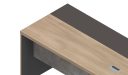 office tabletop in oakwood & gray laminate