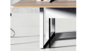 wooden top meeting table with steel base