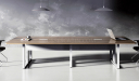 modern meeting table with white metal legs