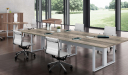 meeting room with large picture window, conference table and chairs