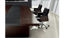 dark wood and leather finish meeting table