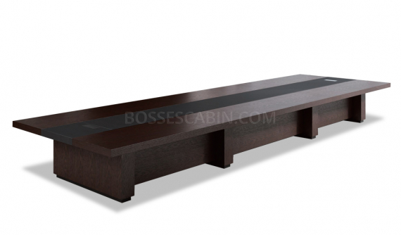 large boardroom table in dark oak and leather finish