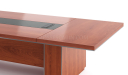 conference table in natural wood finish with wirebox