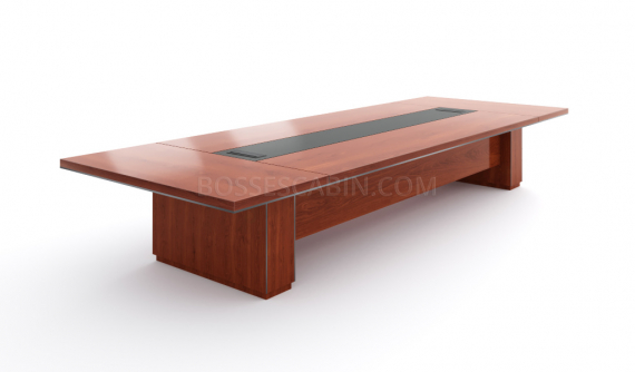 large conference table with wire management
