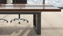 veneer and leather finish meeting table top