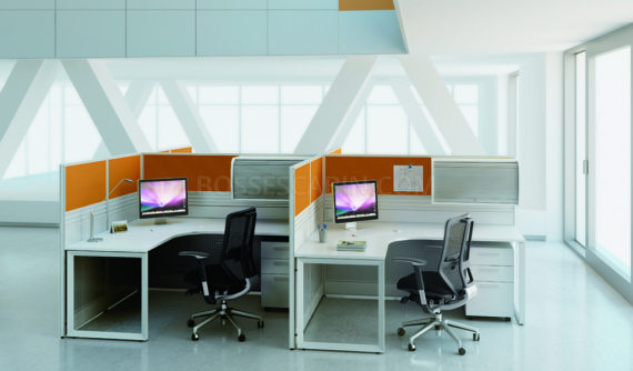L shape workstation cubicles with chair