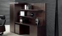 rear cabinet and bookshelf in dark wood