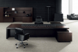 large office cabin with executive desk and rear storage unit