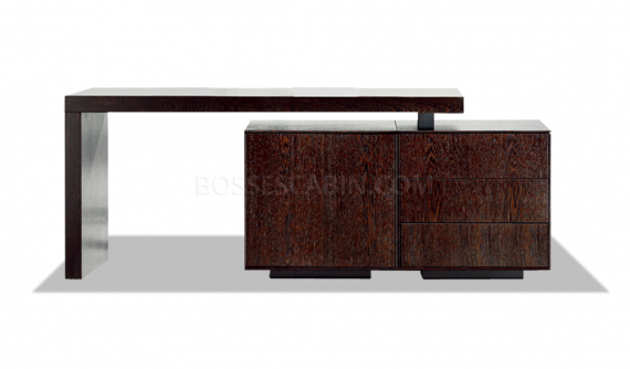 console cum side cabinet in dark wood