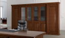 office cabin with solid wood and glass finish bookcase