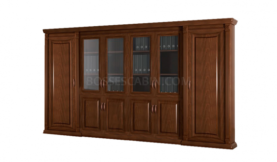 large office cabinet and bookcase with glass and wooden doors
