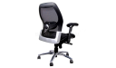 black task chair with curved, ergonomic backrest