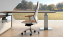 modern office table with tan leather office chair