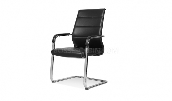 visitors chair in black leather