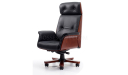 High back chesterfield office chair in black leather and red shadow wood veneer