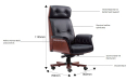 specifications of chesterfield office chair in black leather