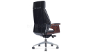 'Coupe' Black Leather Office Chair With Headrest