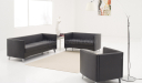 office sofa set in black PU leather