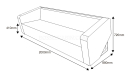 shop drawing of three seater sofa with size
