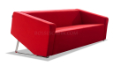 stylish three seater sofa in red fabric