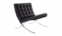black leather barcelona chair side view