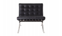 black leather barcelona chair front view