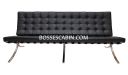three seater sofa in black leather and steel